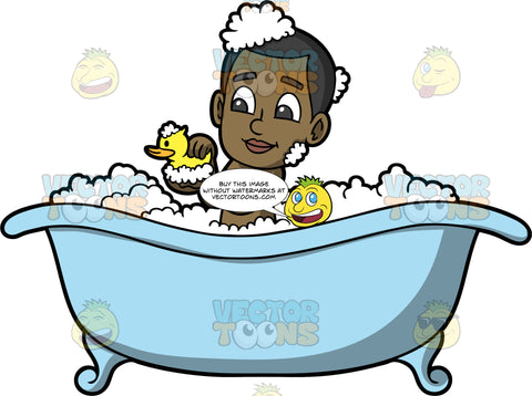 Young Calvin Having A Bubble Bath. A black boy sitting in a blue bathtub filled with bubbles, holding a yellow rubber duck in his hands