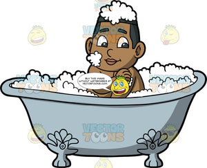 Young James Cleaning Himself In The Tub. A black boy sitting in a bathtub filled with bubbles, using a yellow sponge to wash his arm