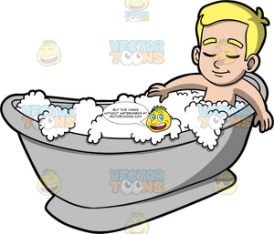 Young Bob Having A Relaxing Bubble Bath. A blonde boy lying in a gray bathtub filled with bubbles, closing his eyes and relaxing