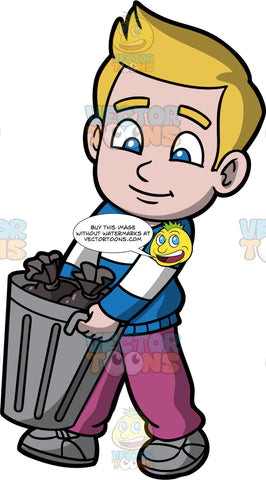Young Matthew Carrying A Trash Can Filled With Garbage. A boy wearing purple pants, a blue and white striped shirt, and gray shoes, carrying a metal trash can filled with garbage bags out to the curb