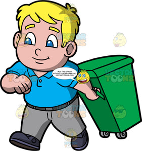 Young Sam Taking A Green Garbage Bin Out To The Curb. A chubby blonde boy wearing gray pants, a blue polo shirt, and black shoes, walking a green garbage bin on wheels out the curb