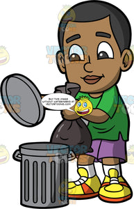 Young Calvin Putting A Garbage Ban Into A Bin. A black boy wearing purple shorts, a green t-shirt, and yellow running shoes, holding the lid of a trash can and preparing to put a garbage bag in the can