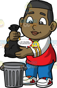 Young James Throwing Out A Bag Of Garbage. A black boy wearing blue pants, a red and white long sleeve shirt, and white, red, and blue shoes, throwing a bag of garbage in a trash can