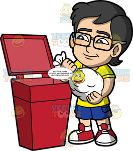 Young Simon Throwing Away A Bag Of Trash. An Asian boy wearing blue shorts, a yellow shirt, red shoes, and eyeglasses, throwing a white garbage bag into a red trash bin