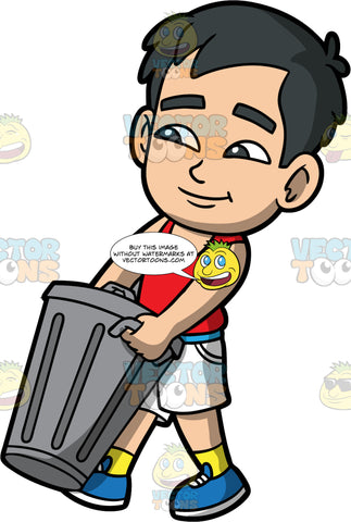 Young Kevin Taking A Trash Can To The Curb. An Asian boy wearing white shorts, a red tank top, yellow socks, and blue shoes, carrying a metal garbage bin out to the curb