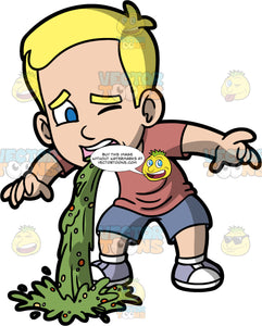 Young Bob Vomiting On His Shoe. A blonde boy wearing blue shorts, a t-shirt, and lavender shoes, standing and throwing up green liquid all over his one shoe