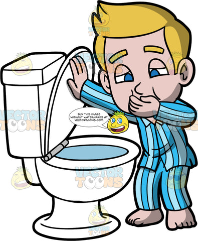 Young Matthew About To Be Sick In A Toilet. A boy wearing blue striped pajamas, standing by the toilet with one hand covering his mouth as he tries not to vomit