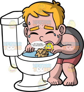 Young Sam Throwing Up Into The Toilet. A boy wearing shorts and a gray tank top, bent over a toilet and throwing up in it