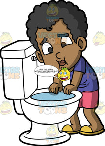Young Jimmy About To Puke In The Toilet. A black boy wearing pink shorts, a purple t-shirt, and yellow slip on shoes, standing over a toilet about to throw up