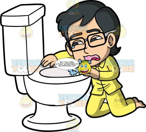 Young Simon Being Sick In The Toilet. An Asian boy wearing yellow pajamas and eyeglasses, kneeling on the floor and throwing up in a toilet