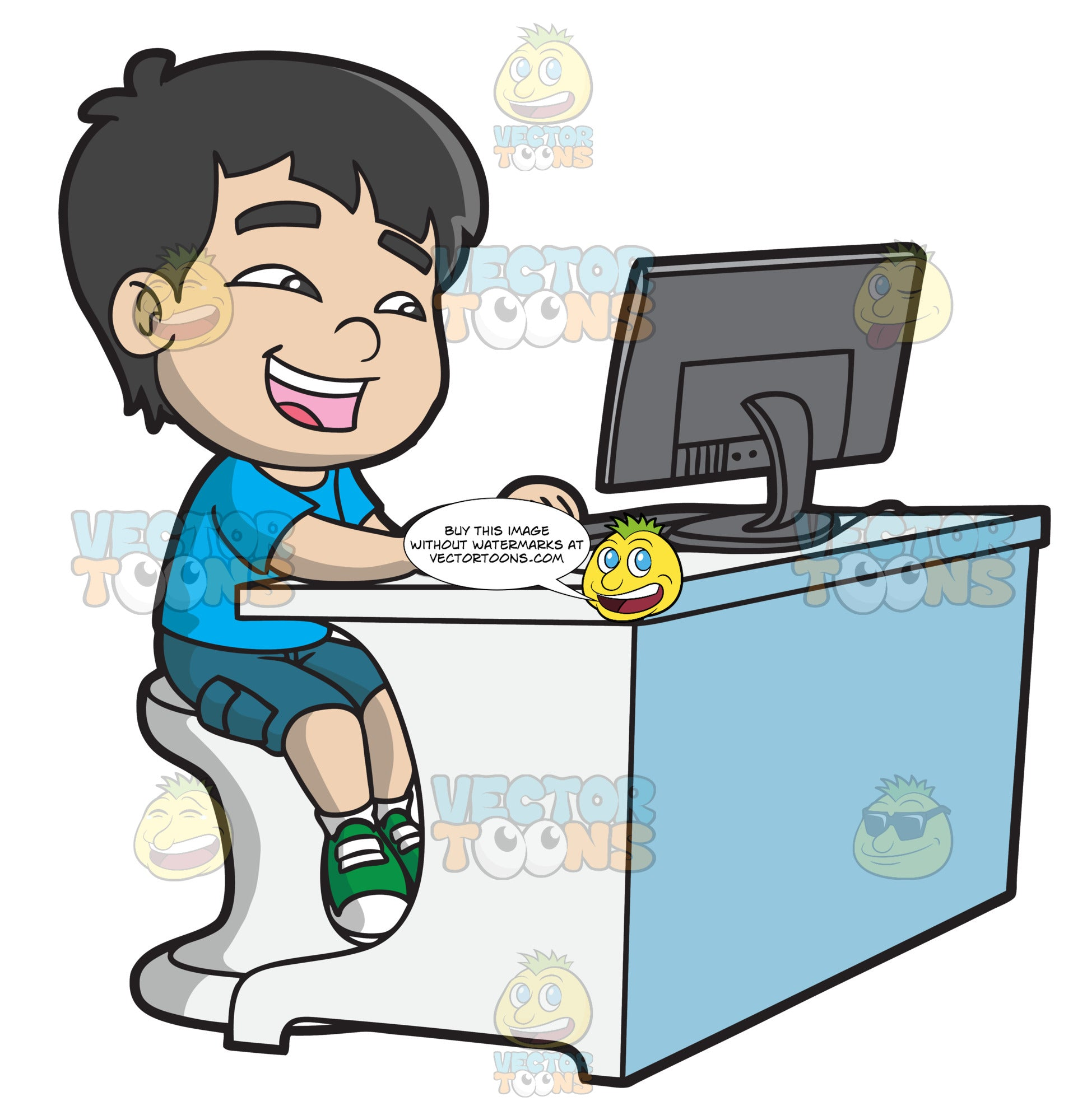 Funny Cartoon Images Of Boys a boy watching a funny video using a desktop computer