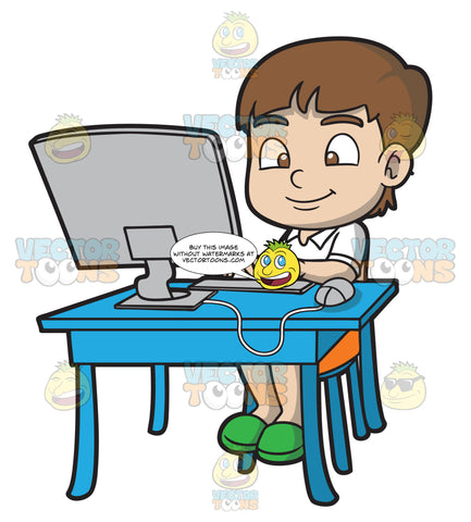 A Boy Typing An Essay Using His Desktop Computer