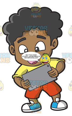 A Black Boy Playing A Game On His Mobile Tablet