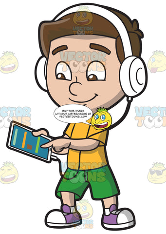 A Boy Listening To A Music Playlist Using His Mobile Tablet And Headphones