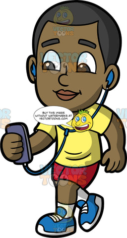 Young Calvin Listening To Music While On A Walk. A black boy wearing red shorts, a yellow t-shirt, and blue running shoes, holding a cell phone in his hand and listening to some music through headphones while walking