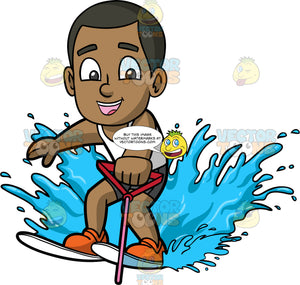 Young Calvin Water Skiing. A young black boy wearing dark gray swim trunks and white tank top, holding onto a handle as he is pulled behind a boat on water skis