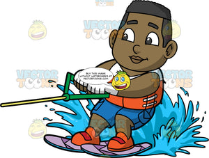 Young James Water Skiing. A young black boy wearing blue swim trunks, and an orange and white life vest, water skiing on purple skis