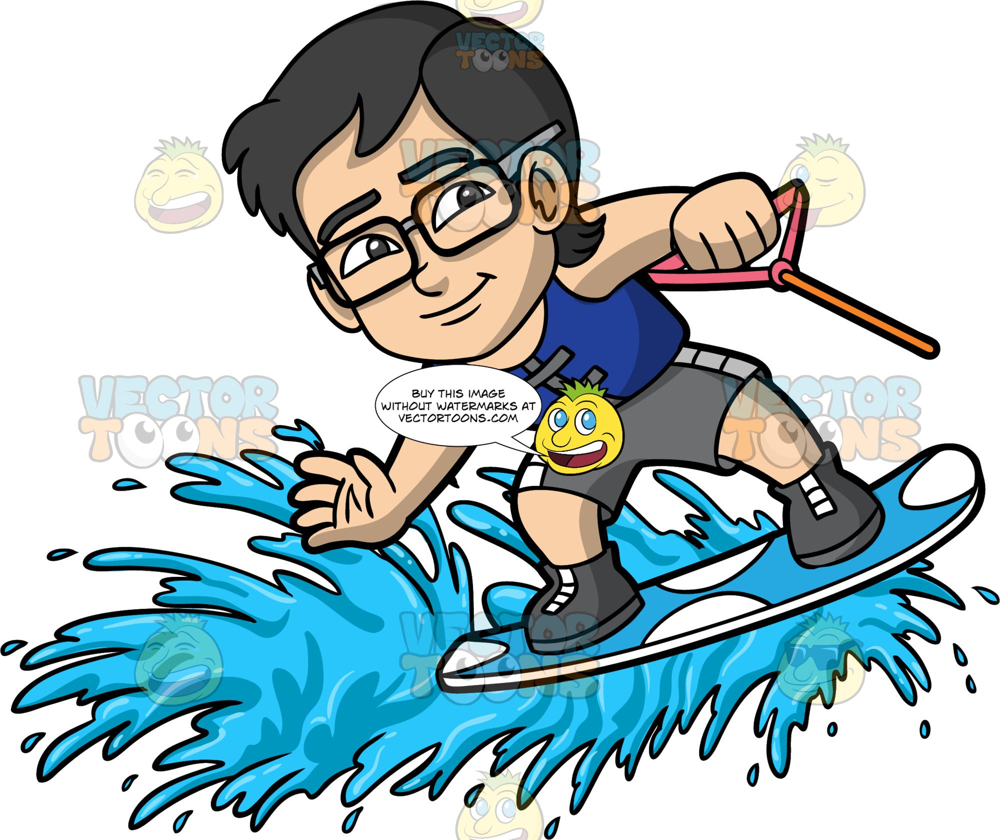 Young Simon Having Fun Water Skiing. A young Asian boy wearing eyeglasses, gray swim trunks, and a blue life jacket, skiing on one water ski