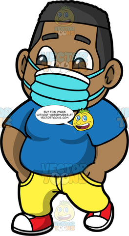 Young James Wearing A Blue Face Mask. A chubby black boy wearing yellow pants, a dark blue t-shirt, red shoes, and a blue face mask, walking down the street with his hands in his pockets