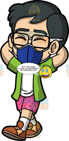 Young Simon Wearing A Dark Blue Face Mask. An Asian boy wearing pink shorts, a green shirt over a white tank top, brown shoes, eyeglasses, and a dark blue face mask, walking with his eyes closed and his hands behind his head