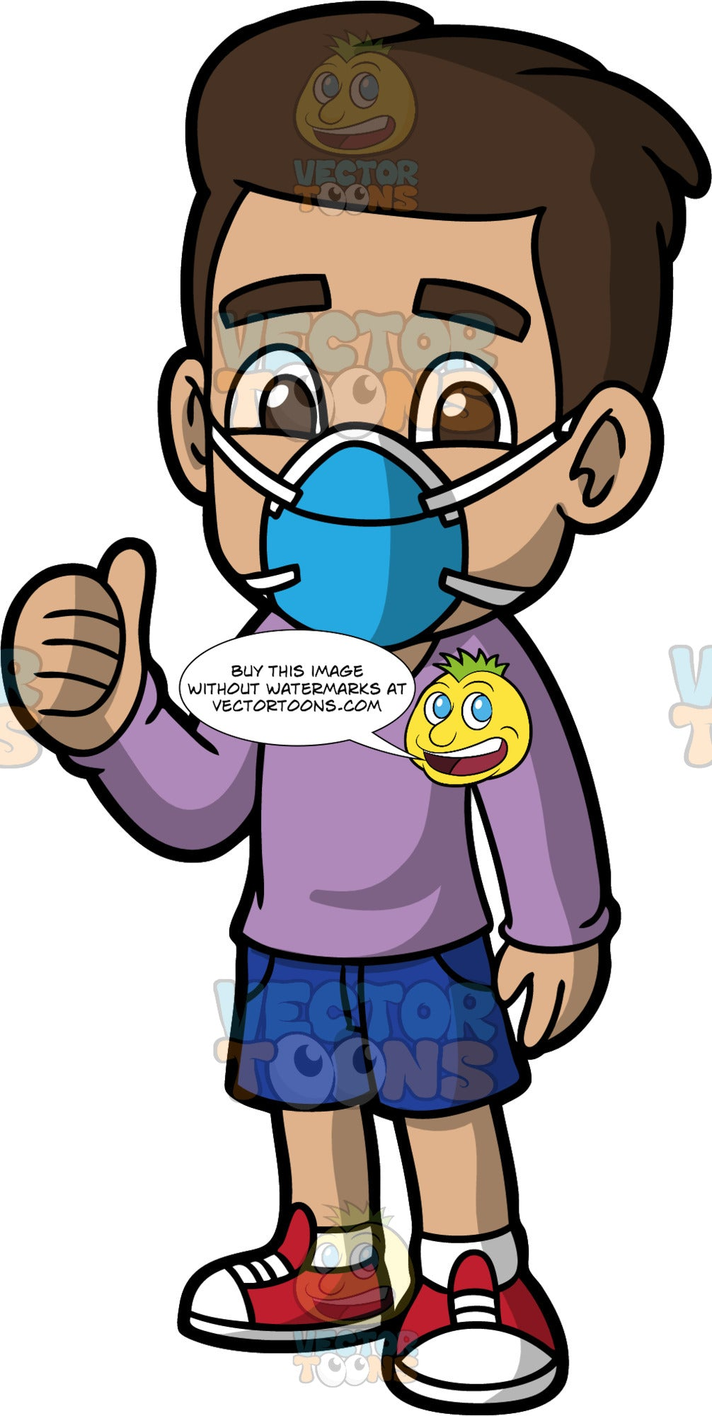 Young Gabriel Wearing A Protective Face Mask. A Hispanic boy wearing dark blue shorts, a long sleeve lavender shirt, red sneakers, and a blue face mask, standing and giving the thumbs up