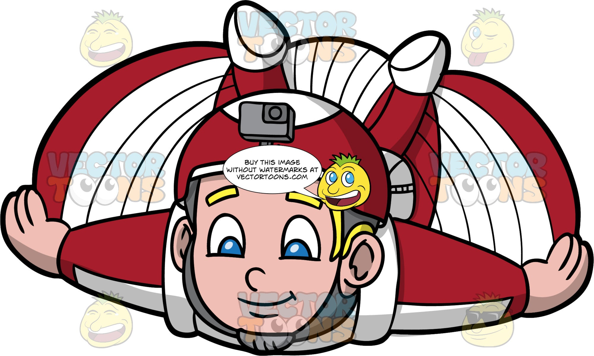 Young Sam Flying Around In A Wingsuit. A young blonde boy wearing a red and white helmet with a camera attached, flying around in his red and white wingsuit