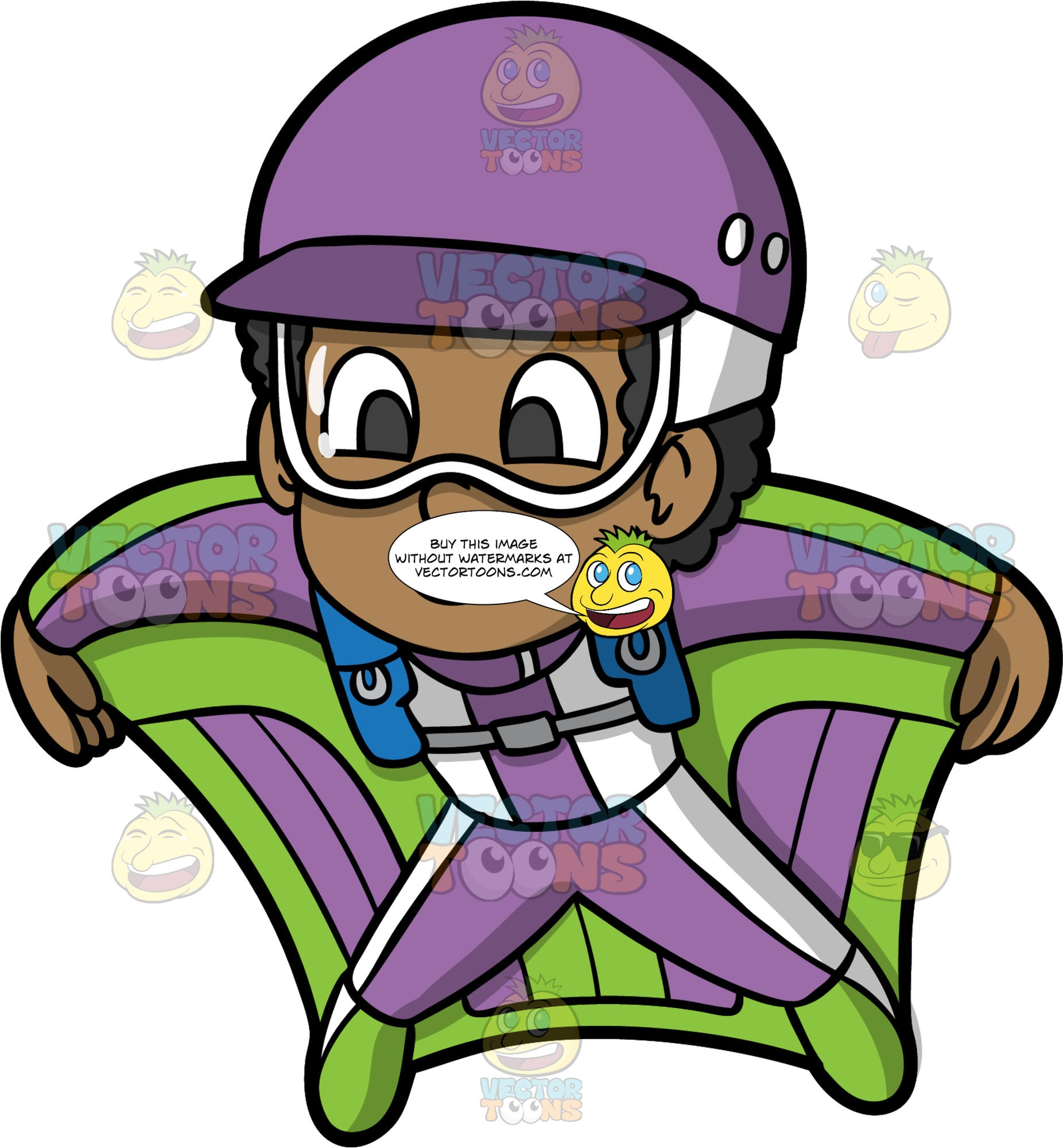 Young Jimmy Flying In A Wingsuit. A young black boy wearing a purple helmet, goggles, and a purple and green wingsuit, flying like a bird through the sky
