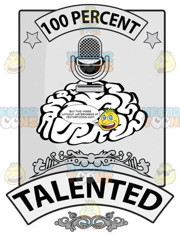 Human Brain Seal With 100 Percent In Banner, Light Bulb, Word Smart In Banner And Ornate Details
