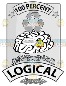 Seal Featuring Human Brain With 100 Percent In Banner, Recycling Symbol, Word Logical In Banner And Florish Details