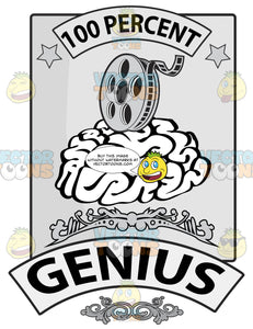 Seal With Human Brain, 100 Percent In Banner, Film Reel, Word Genius In Banner And Ornate Florishes