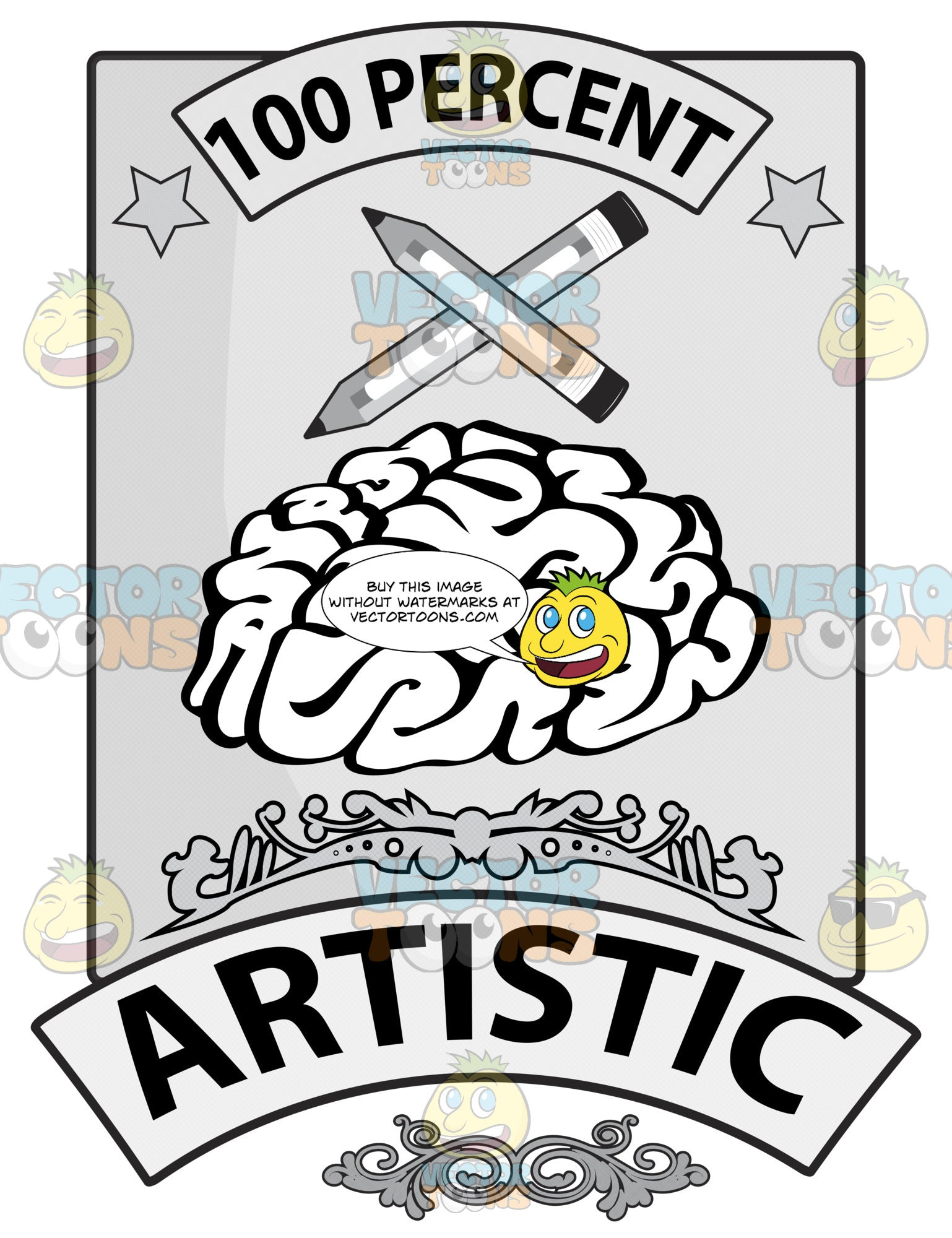 Seal With Human Brain, 100 Percent In Banner, Two Pencils Crossed, Word Artistic In Banner And Ornate Florishes