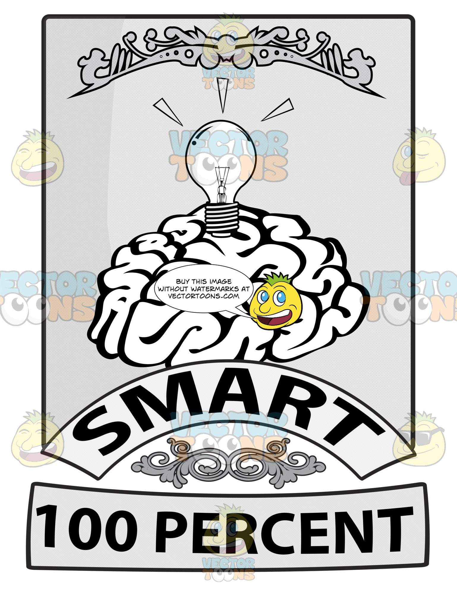 Seal With Human Brain With Light Bulb Above, Banners With Word Smart And 100 Percent Beneath With Ornate Florishes