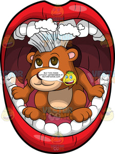 Brushy Bear Cleaning Some Teeth. A cute brown bear with brown eyes and a white bristle mohawk hair cut, crouching inside a mouth and using his bristles to brush the teeth
