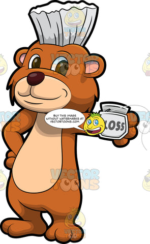 Brushy Bear Holding A Pack Of Dental Floss. A cute brown bear with brown eyes and a white bristle mohawk hair cut, standing with one paw on his hip and the other holding a box of dental floss in the other