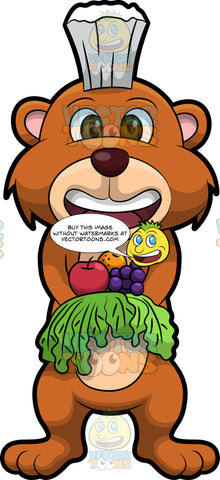 Brushy Bear Holding A Variety Of Fruits And Vegetables. A cute brown bear with brown eyes and a white bristle mohawk hair cut, standing and holding out his paws which are filled with fruits and vegetables