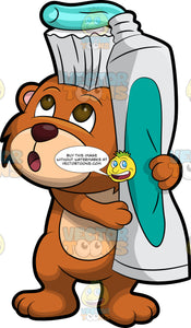 Brushy Bear Squeezing Toothpaste Onto His Bristles. A cute brown bear with brown eyes and a white bristle mohawk hair cut, standing and squeezing toothpaste onto his bristles from a large tube of toothpaste