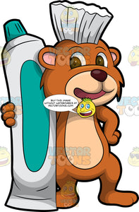 Brushy Bear Standing Beside A Giant Tube Of Toothpaste. A cute brown bear with brown eyes and a white bristle mohawk hair cut, standing with his arm around a huge tube of toothpaste