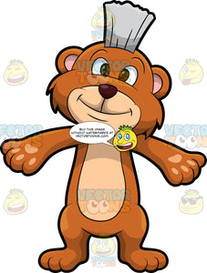 Brushy Bear Holding His Arms Out For A Hug. A cute brown bear with brown eyes and a white bristle mohawk hair cut, standing with his arms out so he can give someone a big hug