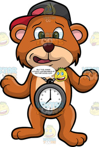 Brushy Bear Wearing A big Clock Around His Neck. A cute brown bear with brown eyes and a white bristle mohawk hair cut, wearing a baseball hat sideways on his head and a big clock necklace