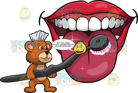Brushy Bear Cleaning A Tongue. A cute brown bear with brown eyes and a white bristle mohawk hair cut, holding a tongue brush and using it to clean a big tongue
