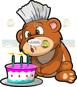 Brushy Bear Blowing Out Candles On A Birthday Cake. A cute brown bear with brown eyes and a white bristle mohawk hair cut, sitting on the ground and blowing out three candles on a pretty cake