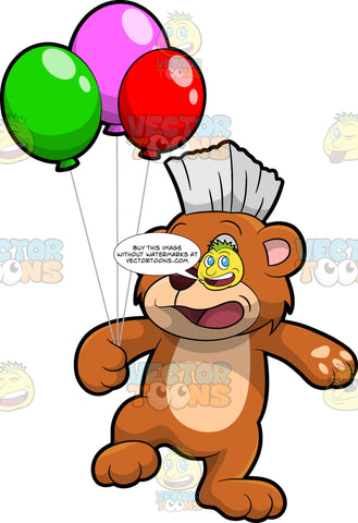 Brushy Bear Holding A Bunch Of Balloons. A cute brown bear with brown eyes and a white bristle mohawk hair cut, smiling and holding pieces of string attached to colorful balloons