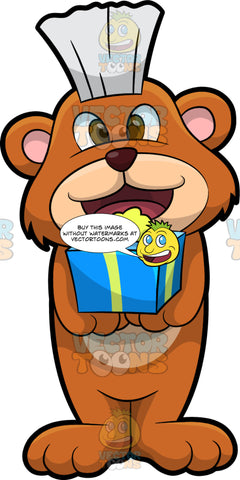 Brushy Bear Holding A Present. A cute brown bear with brown eyes and a white bristle mohawk hair cut, standing and holding a birthday gift in his paws
