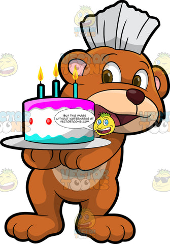 Brushy Bear Holding A Birthday Cake. A cute brown bear with brown eyes and a white bristle mohawk hair cut, standing with a birthday cake in his paws