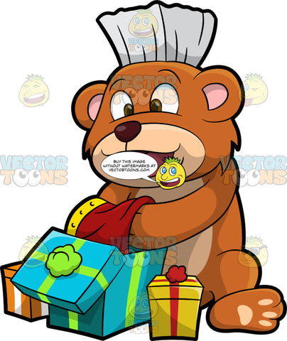 Brushy Bear Opening Gifts. A cute brown bear with brown eyes and a white bristle mohawk hair cut, sitting on the ground and happily opening up some birthday presents