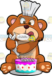 Brushy Bear Icing A Cake. A cute brown bear with brown eyes and a white bristle mohawk hair cut, sitting on the floor and using a piping bag to put frosting on a birthday cake