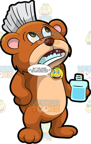 Brushy Bear Gargling Some Mouthwash. A cute brown bear with brown eyes and a white bristle mohawk hair cut, holding a bottle of mouthwash and gargling some in his mouth