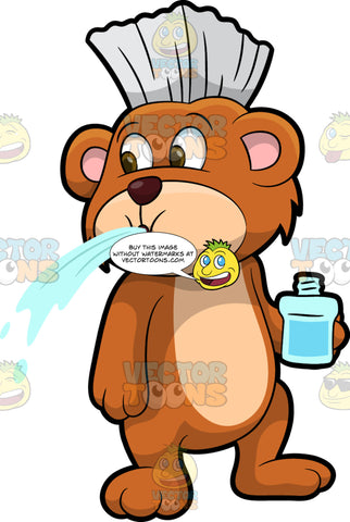 Brushy Bear Spitting Out Some Mouthwash. A cute brown bear with brown eyes and a white bristle mohawk hair cut, holding a bottle of mouthwash in one paw and spitting out some mouthwash from his mouth
