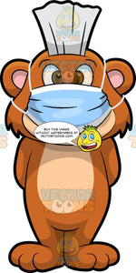 Brushy Bear Wearing A Dental Mask. A cute brown bear with brown eyes and a white bristle mohawk hair cut, standing with his arms behind his back and wearing a dental mask on his face