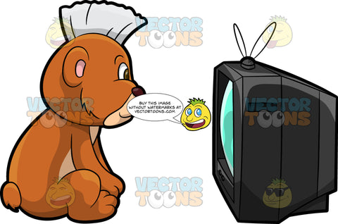 Brushy Bear Watching Television. A cute brown bear with brown eyes and a white bristle mohawk hair cut, sitting on the floor and watching a show on the TV